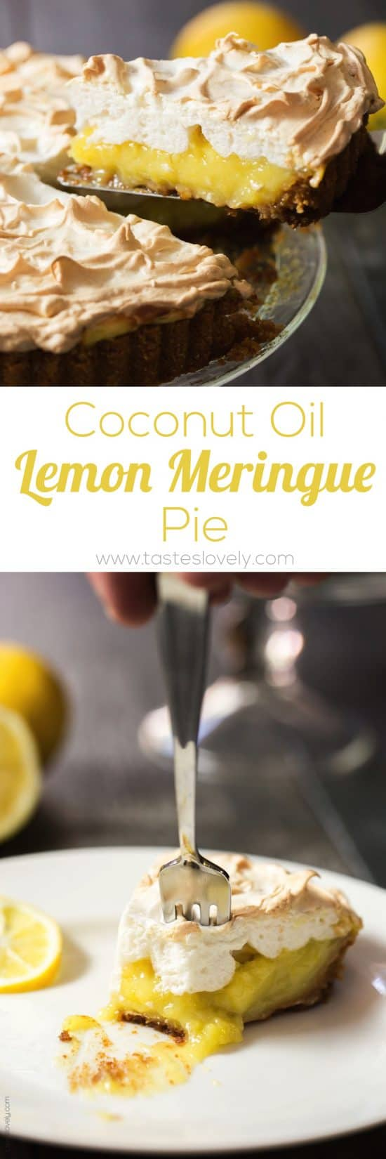 Coconut Oil Lemon Meringue Pie with a graham cracker crust (dairy free)