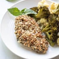 Paleo + Whole30 Almond Crusted Pesto Chicken
