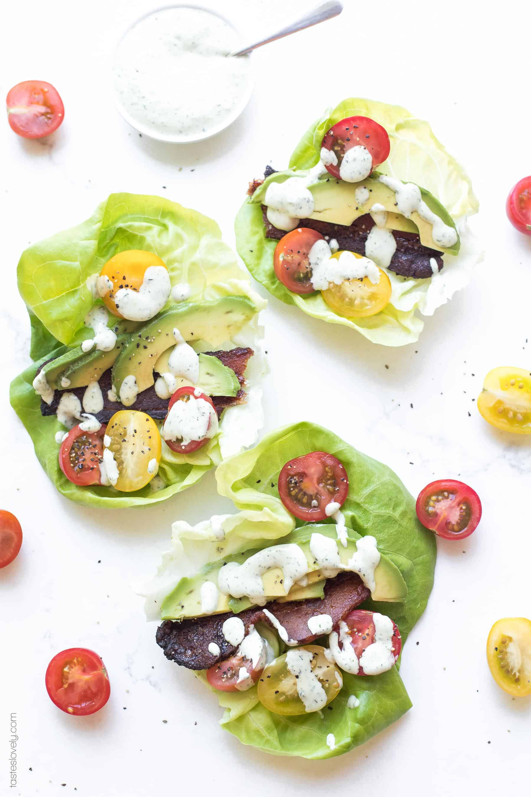 Paleo, Whole30 + Keto BLT Lettuce Wraps Recipe with avocado ranch dressing - a healthy and delicious lunch, dinner or appetizer. #paleo #whole30 #keto #glutenfree #grainfree #dairyfree #lowcarb #sugarfree #cleaneating #realfood