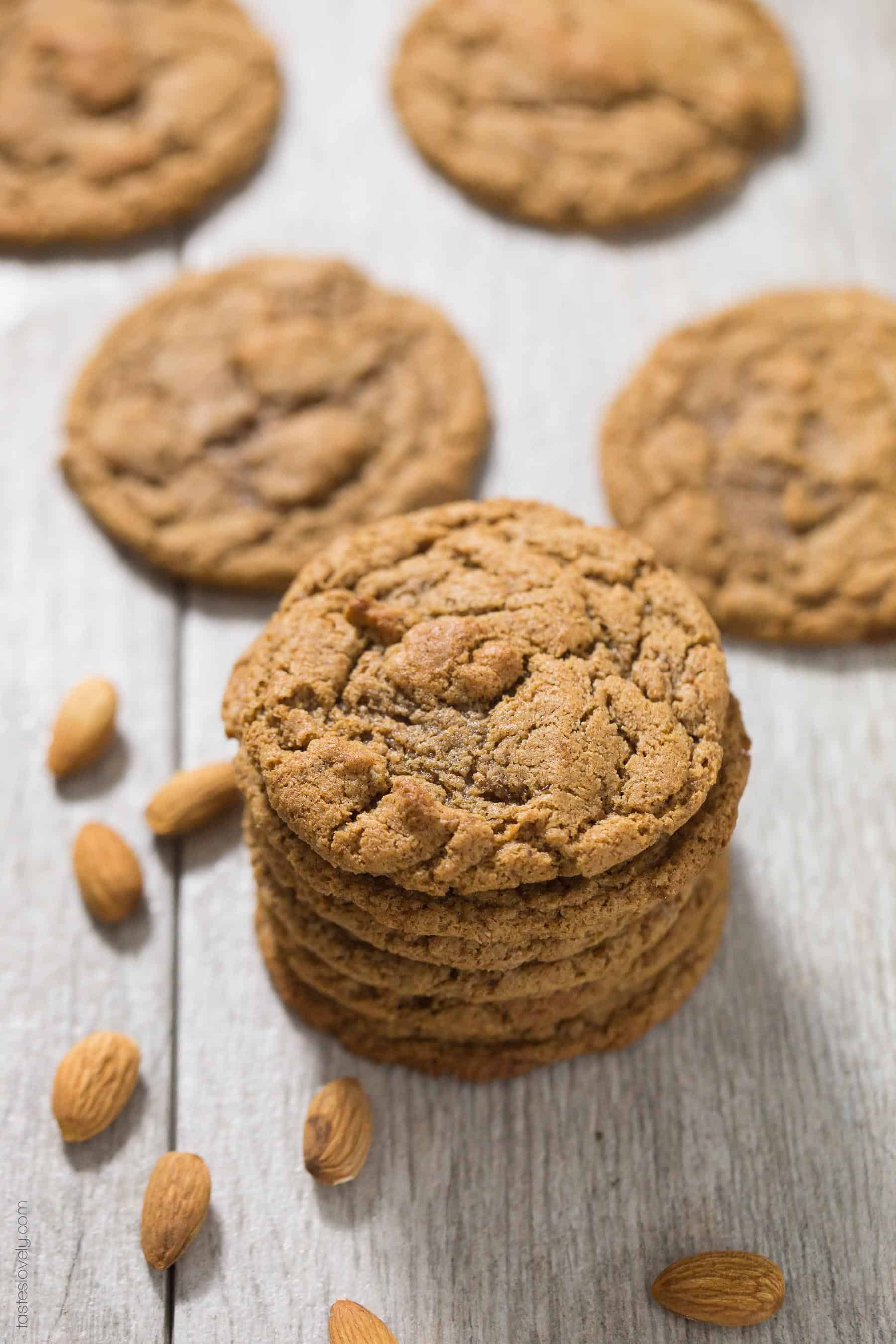 Stack of paleo almond butter cookies