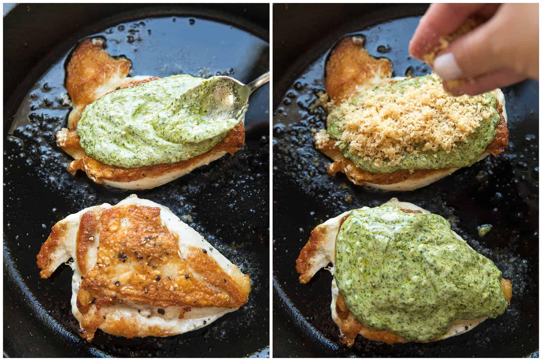 Steps to making crispy pesto chicken
