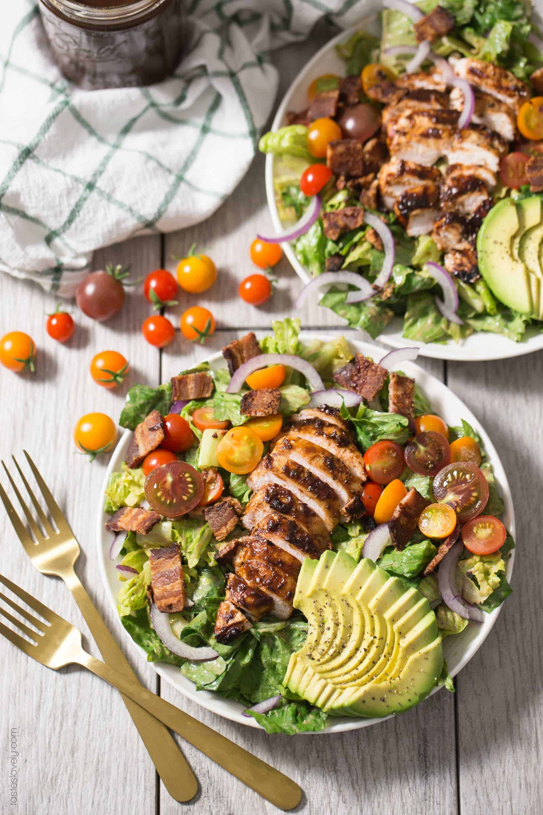 Paleo & Whole30 Grilled BBQ Chicken BLT Salad with bacon, grape tomatoes, red onions, avocado and a BBQ ranch dressing. Gluten free, dairy free, sugar free.
