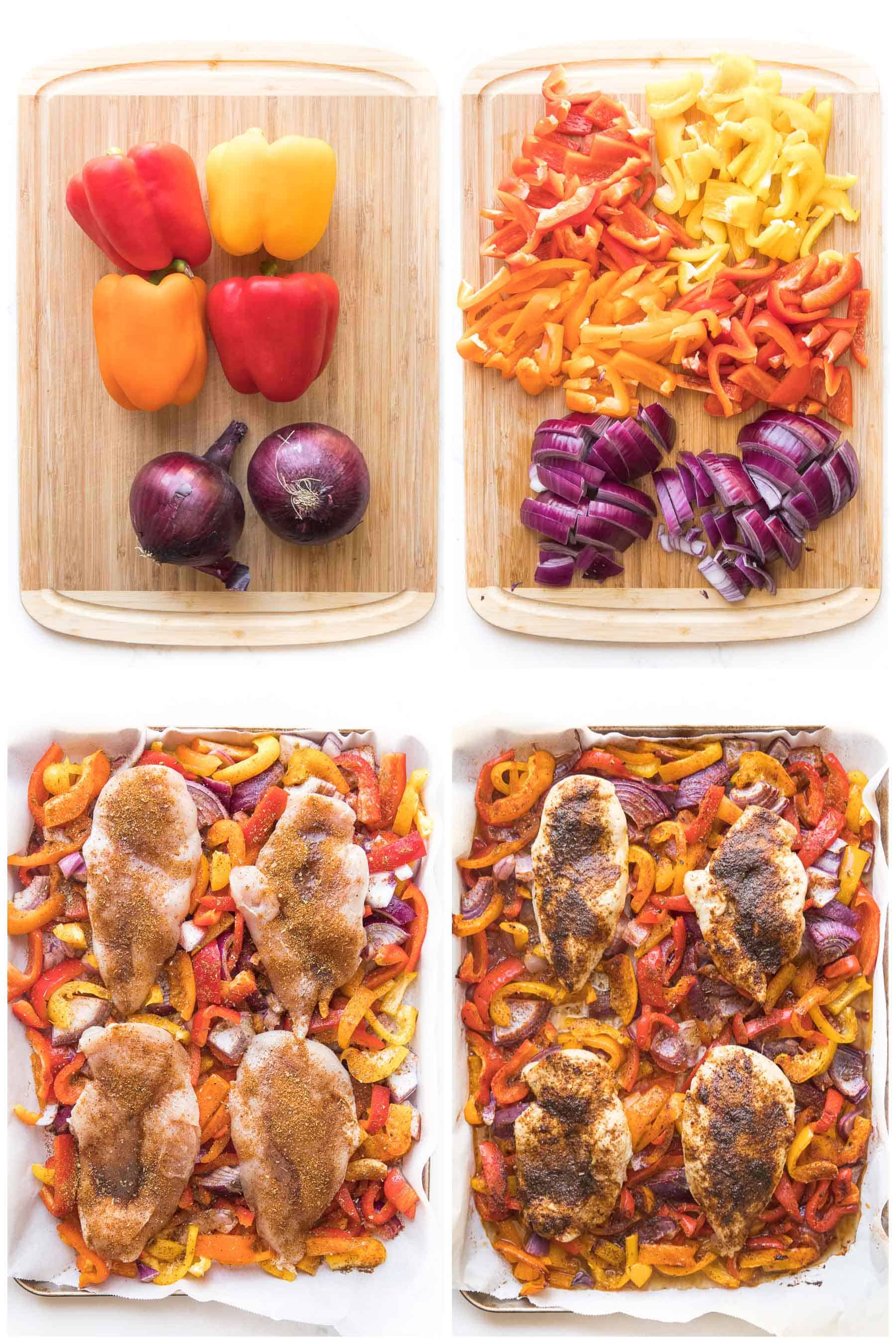 steps to making sheet pan chicken fajitas