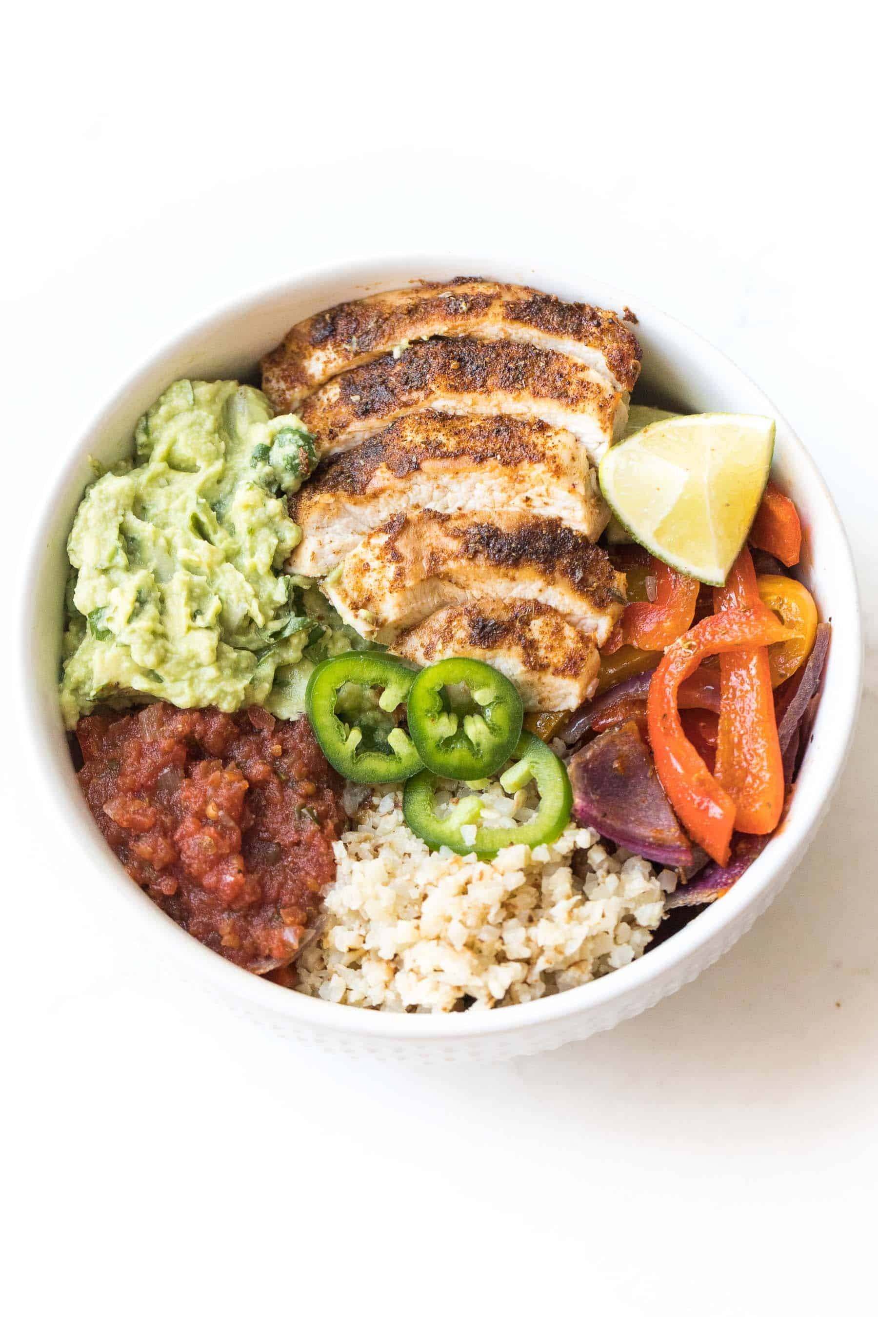 chicken fajita burrito taco bowl