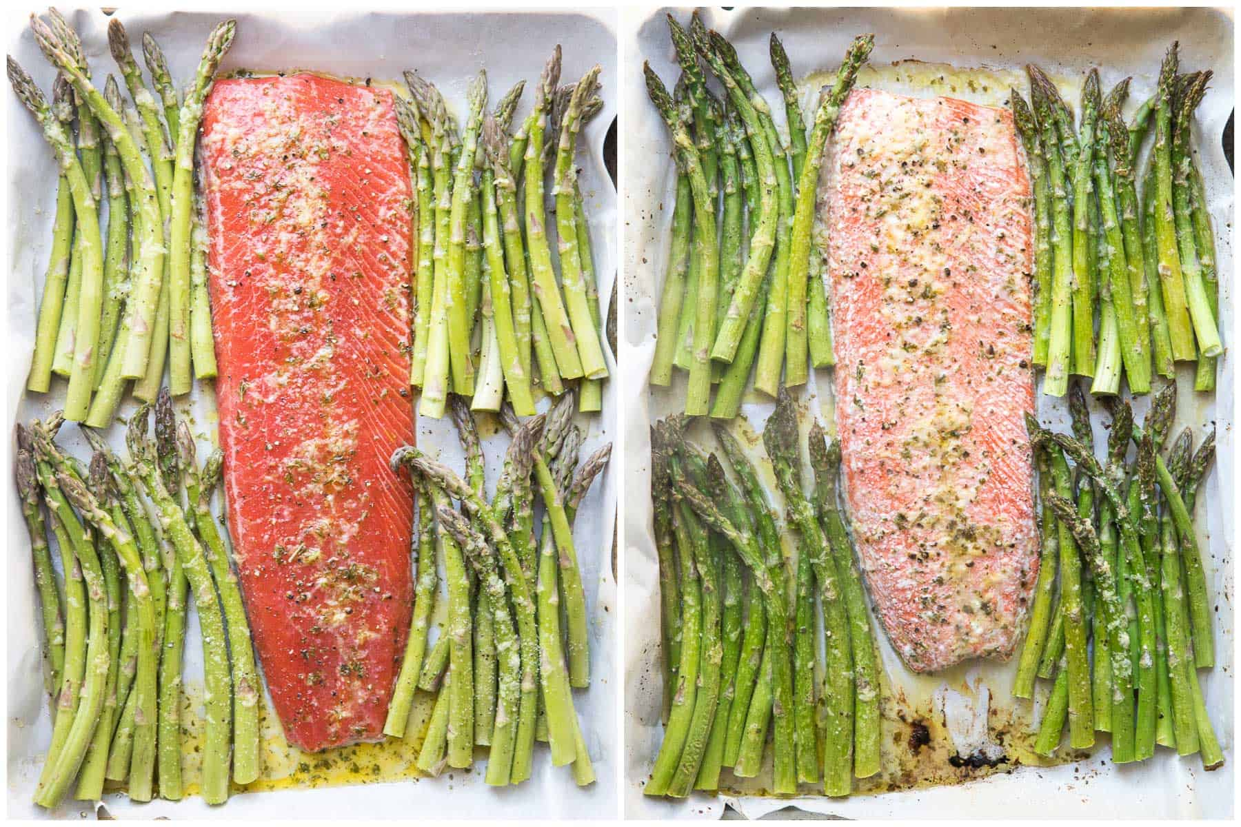 before and after sheet pan + asparagus dinner