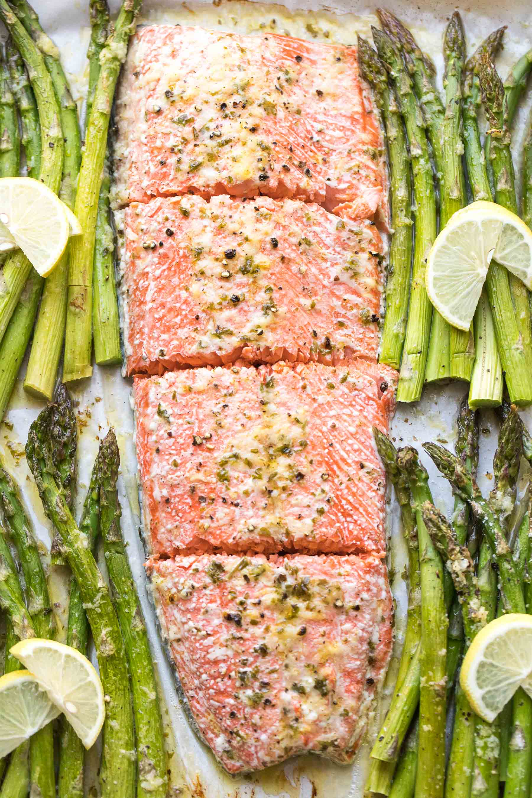 sheet pan salmon + asparagus dinner