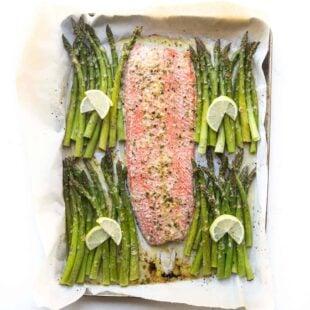 salmon and asparagus on a sheet pan