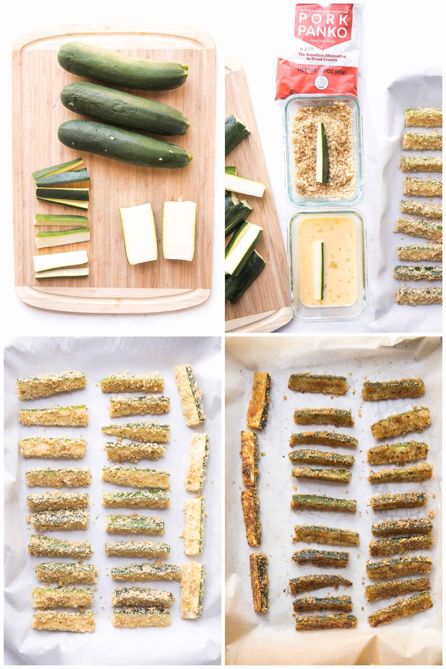 steps to making baked whole30 + keto zucchini fries