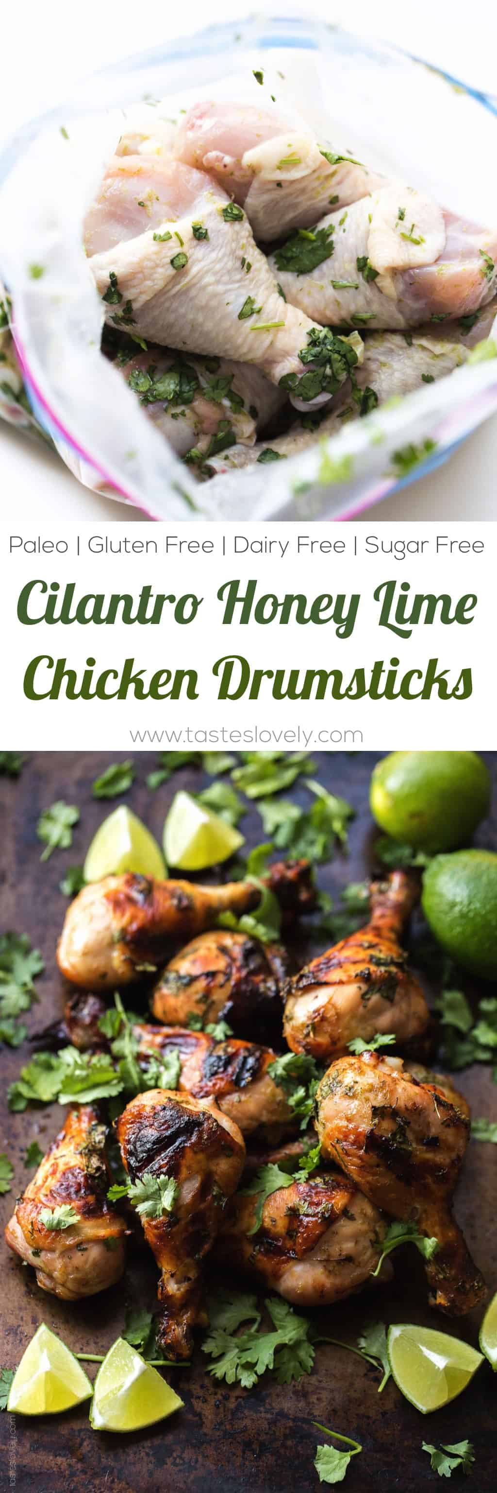 Paleo Cilantro Honey Lime Chicken Drumsticks - a delicious and healthy grilled dinner recipe! Paleo, gluten free, grain free, dairy free, refined sugar free.