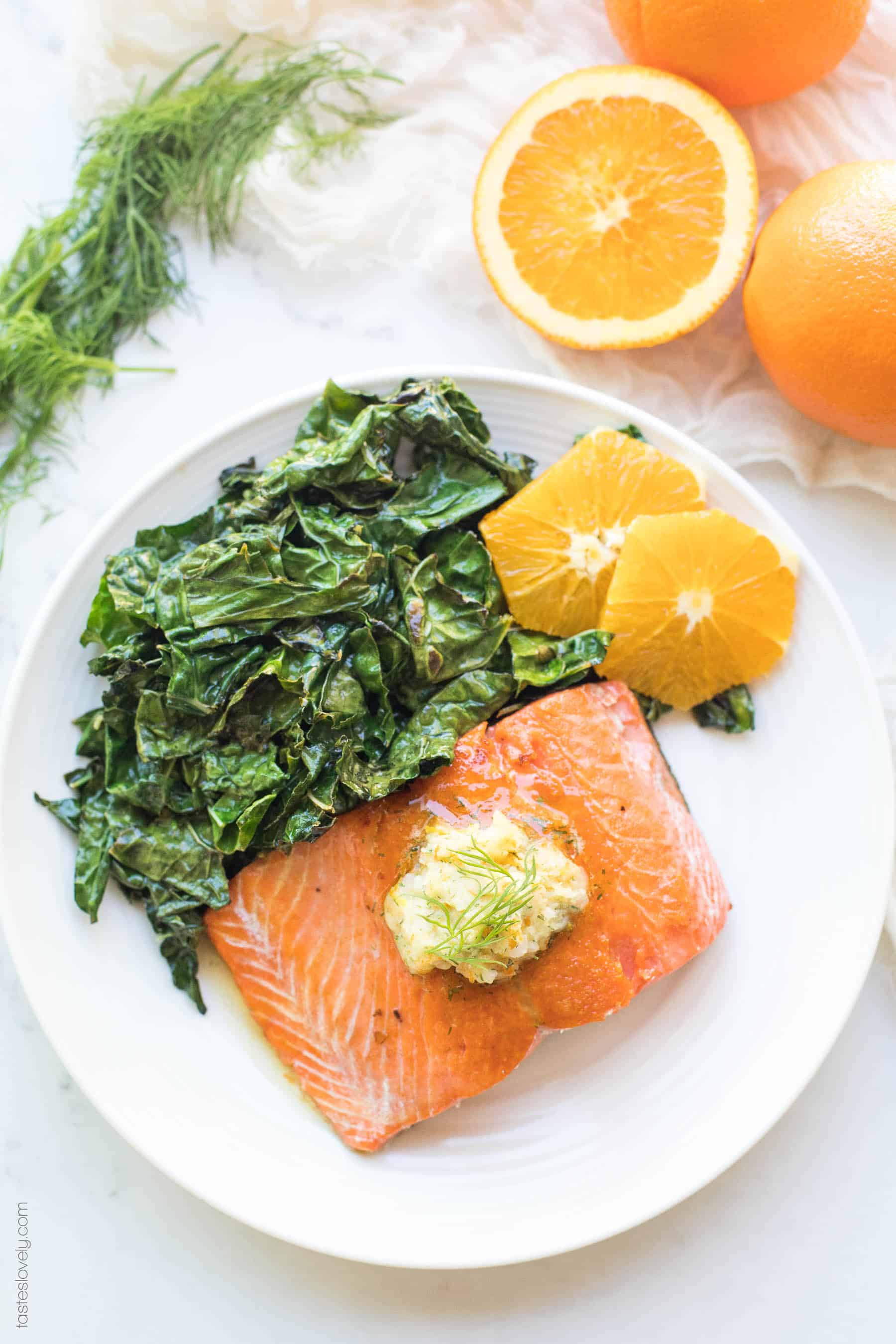 Salmon with Kale Oranges and Butter