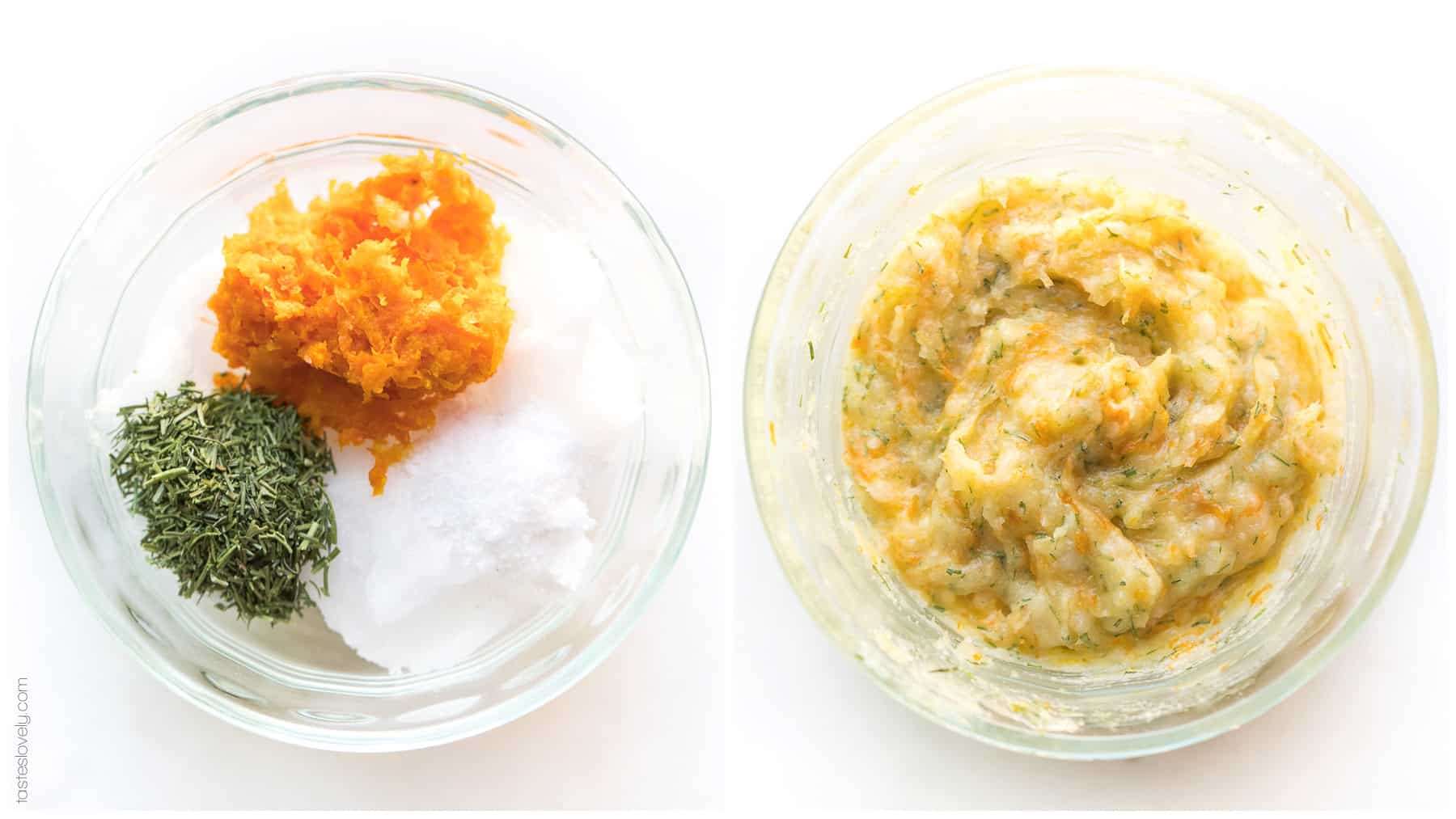 Coconut oil with orange zest and dill