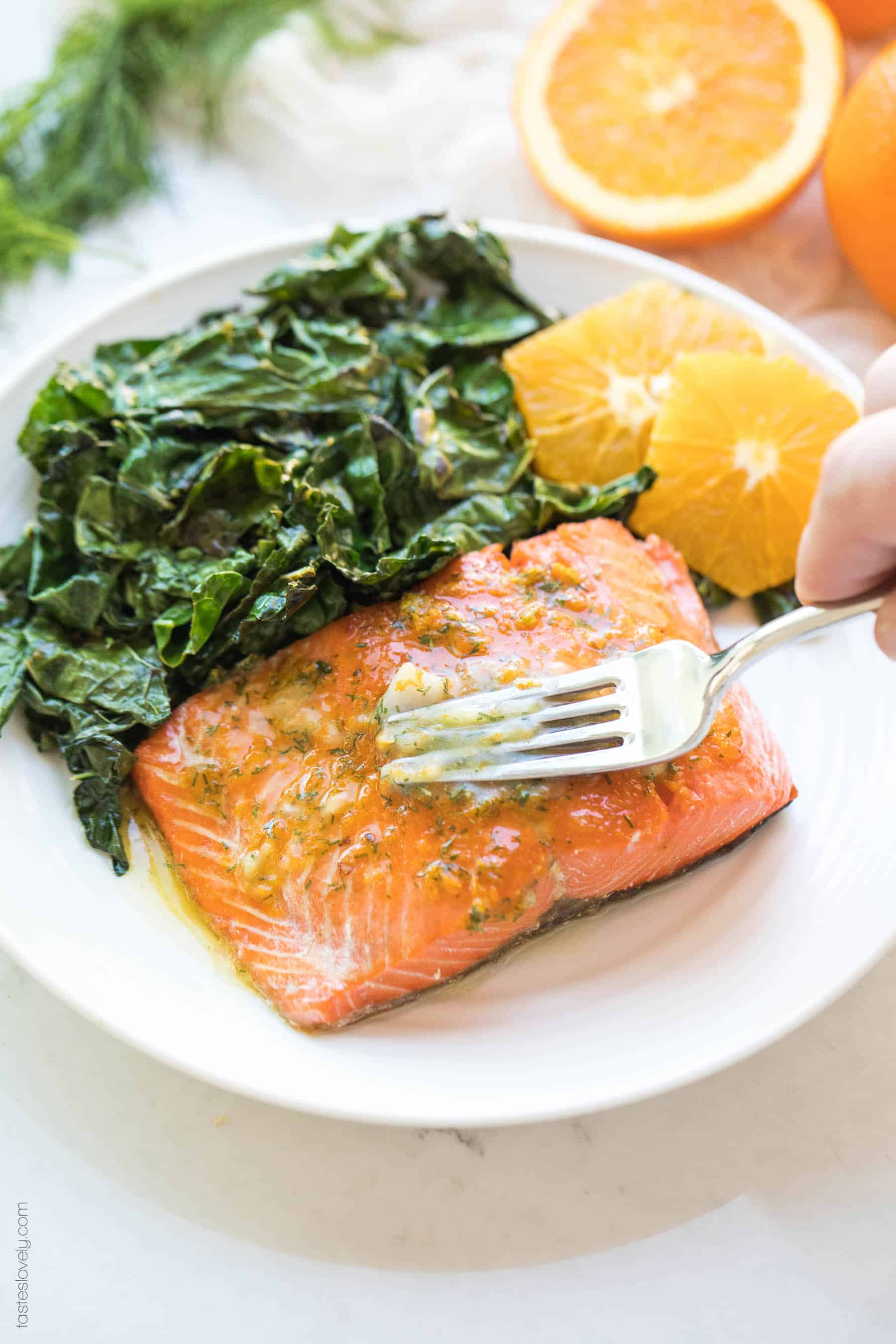 Salmon with kale and oranges