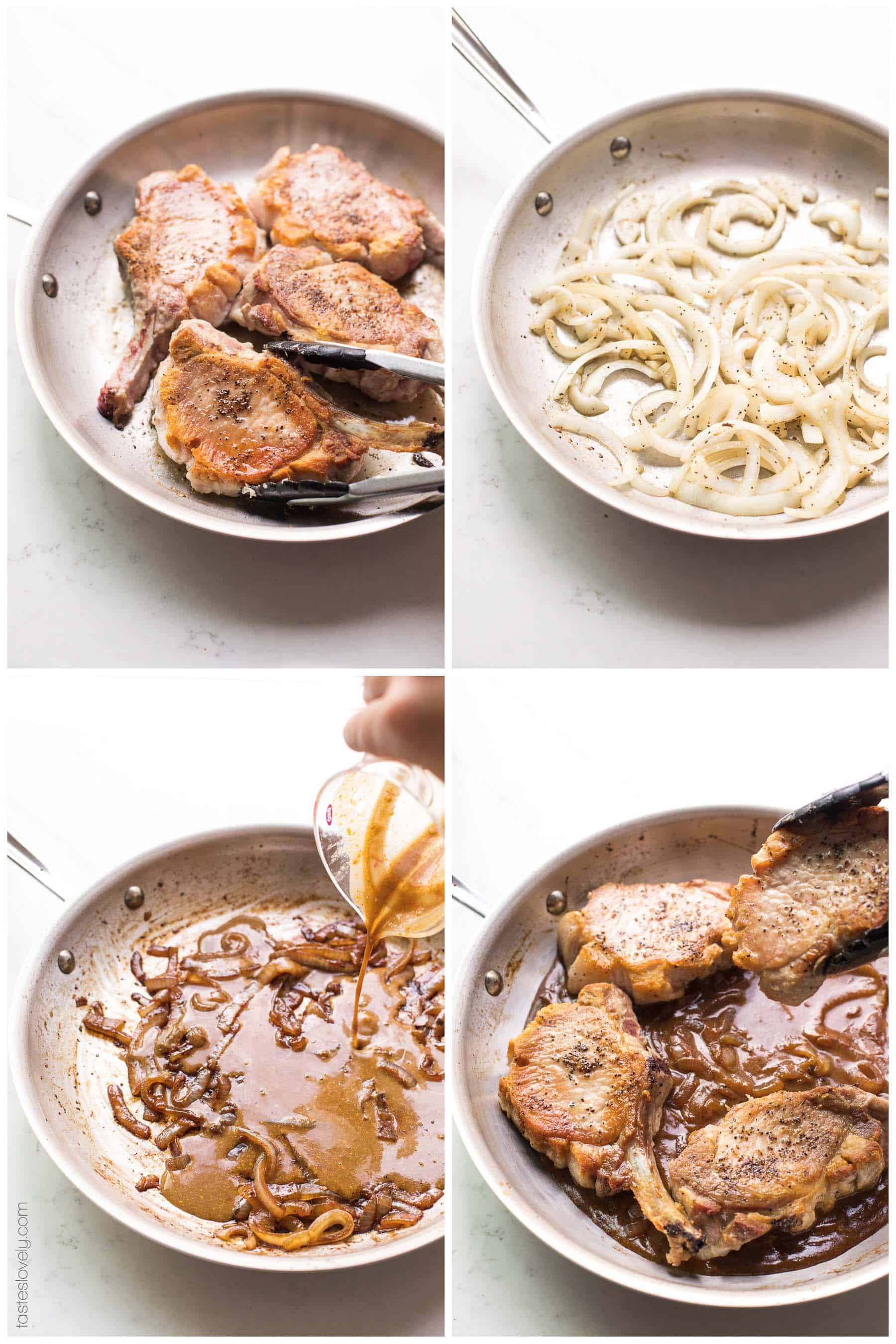 Prep steps for cooking pork chops in a skillet with brown sauce