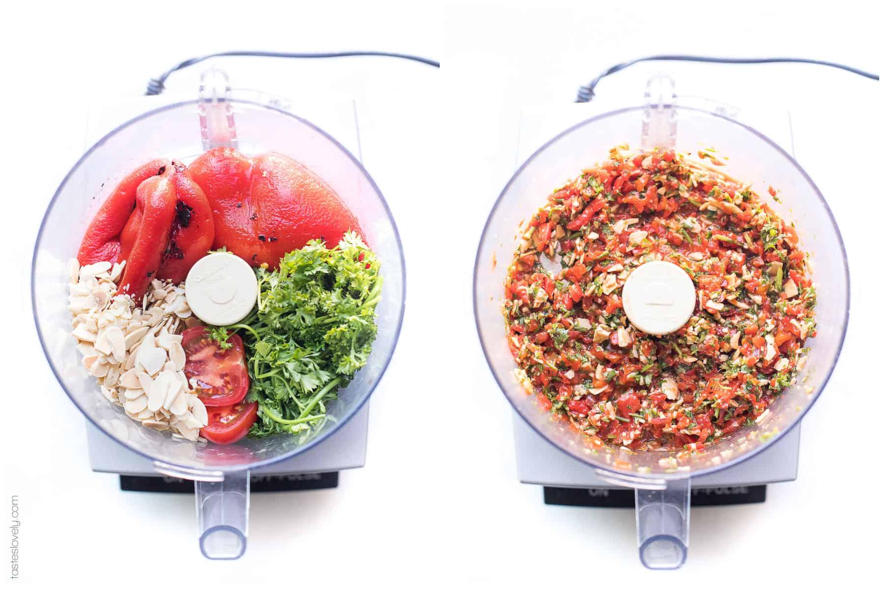 Red pepper salsa in a food processor
