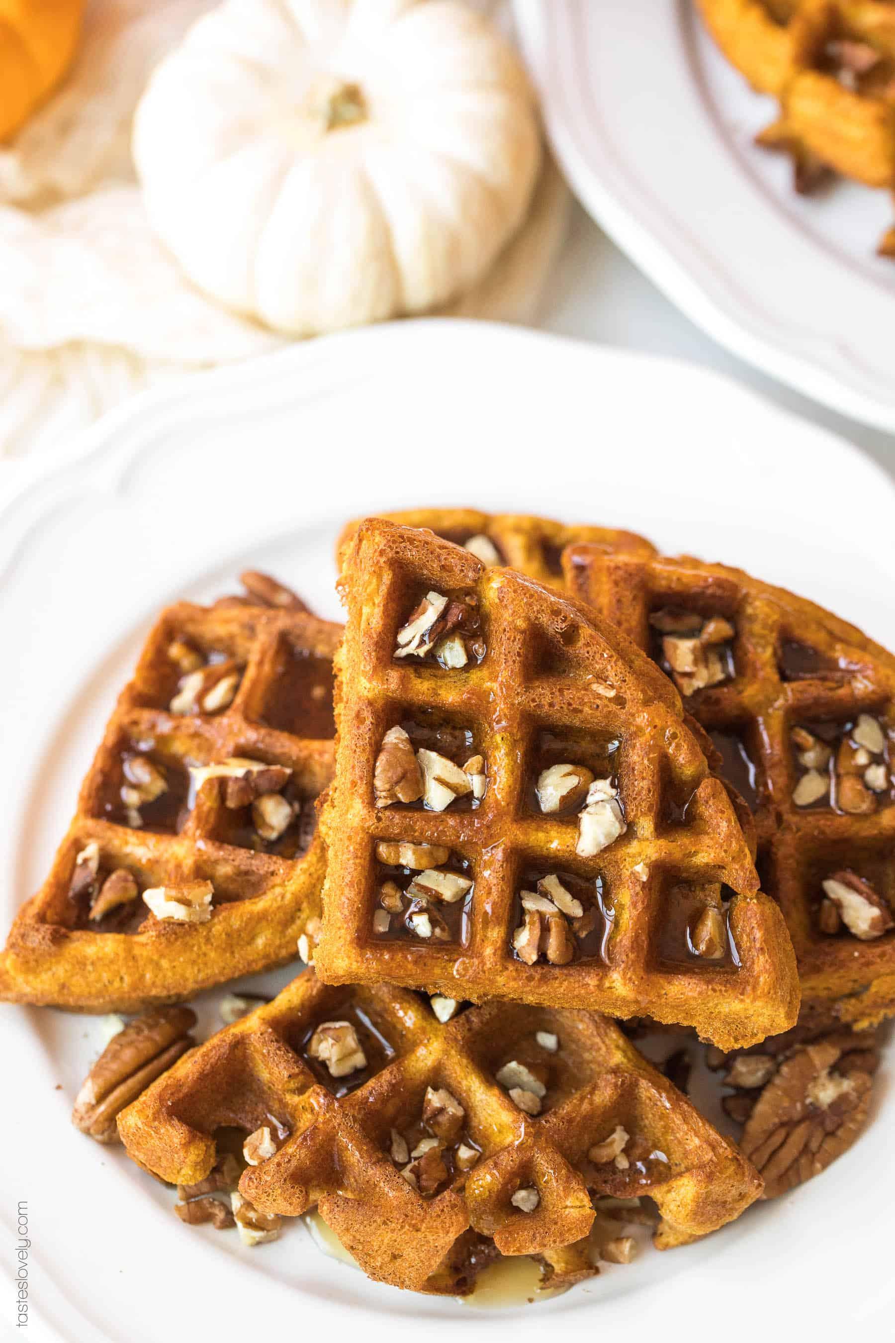 pumpkin waffles on a white plate