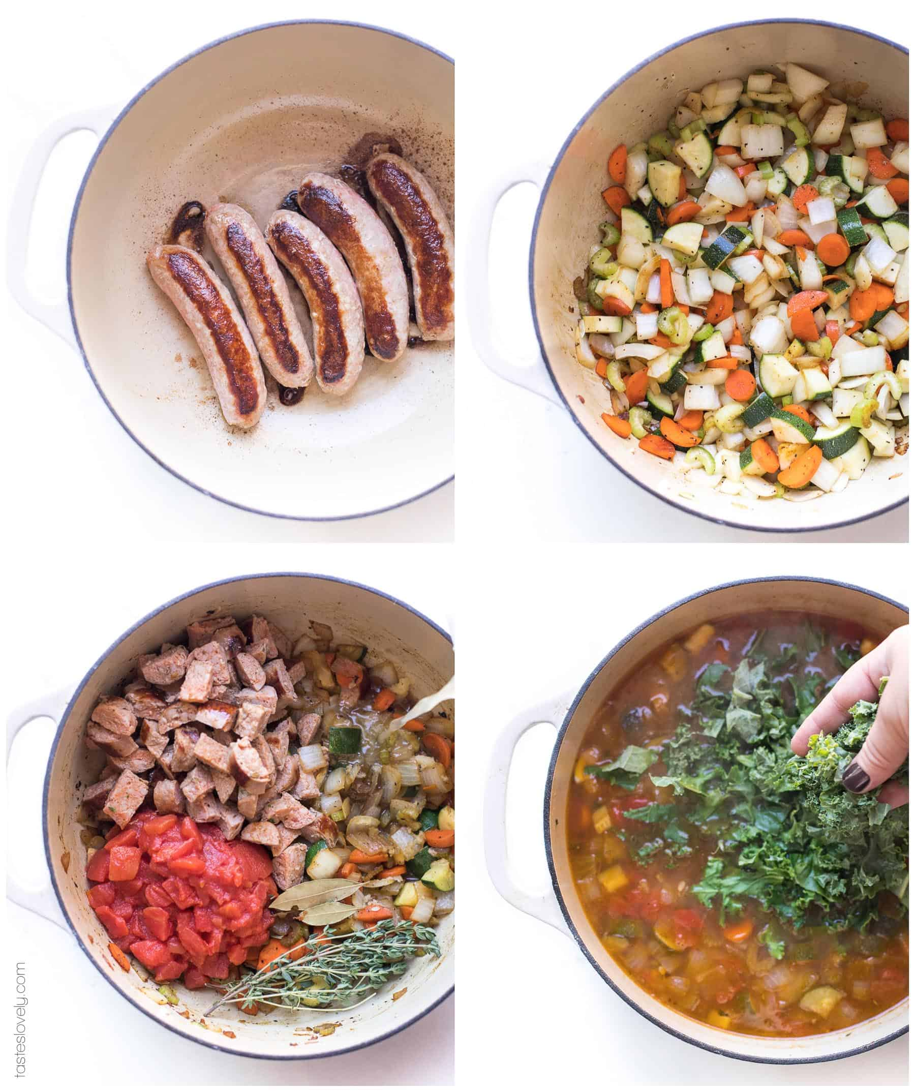 Prep steps for making sausage and kale vegetable soup