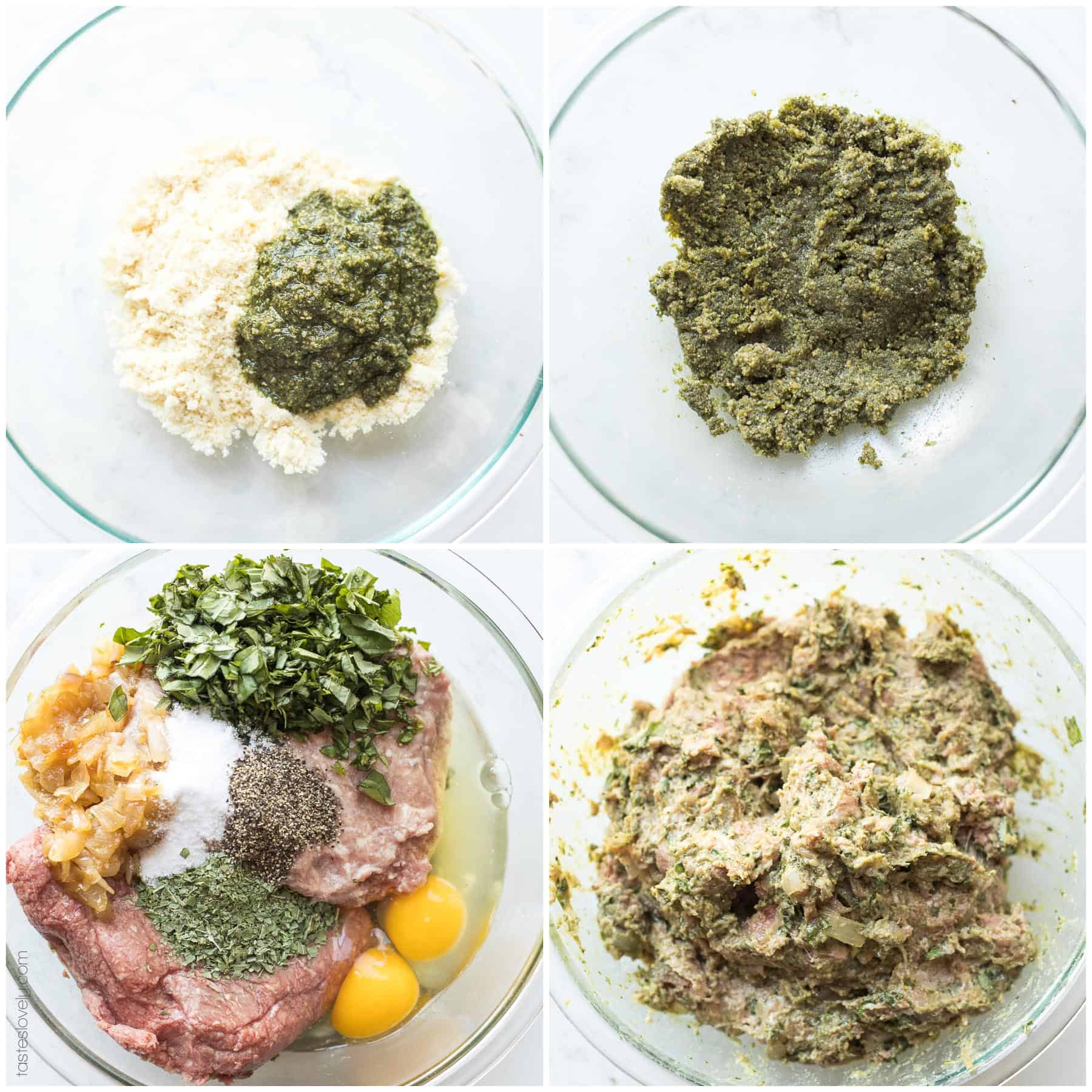 The steps and ingredients of making pesto meatballs