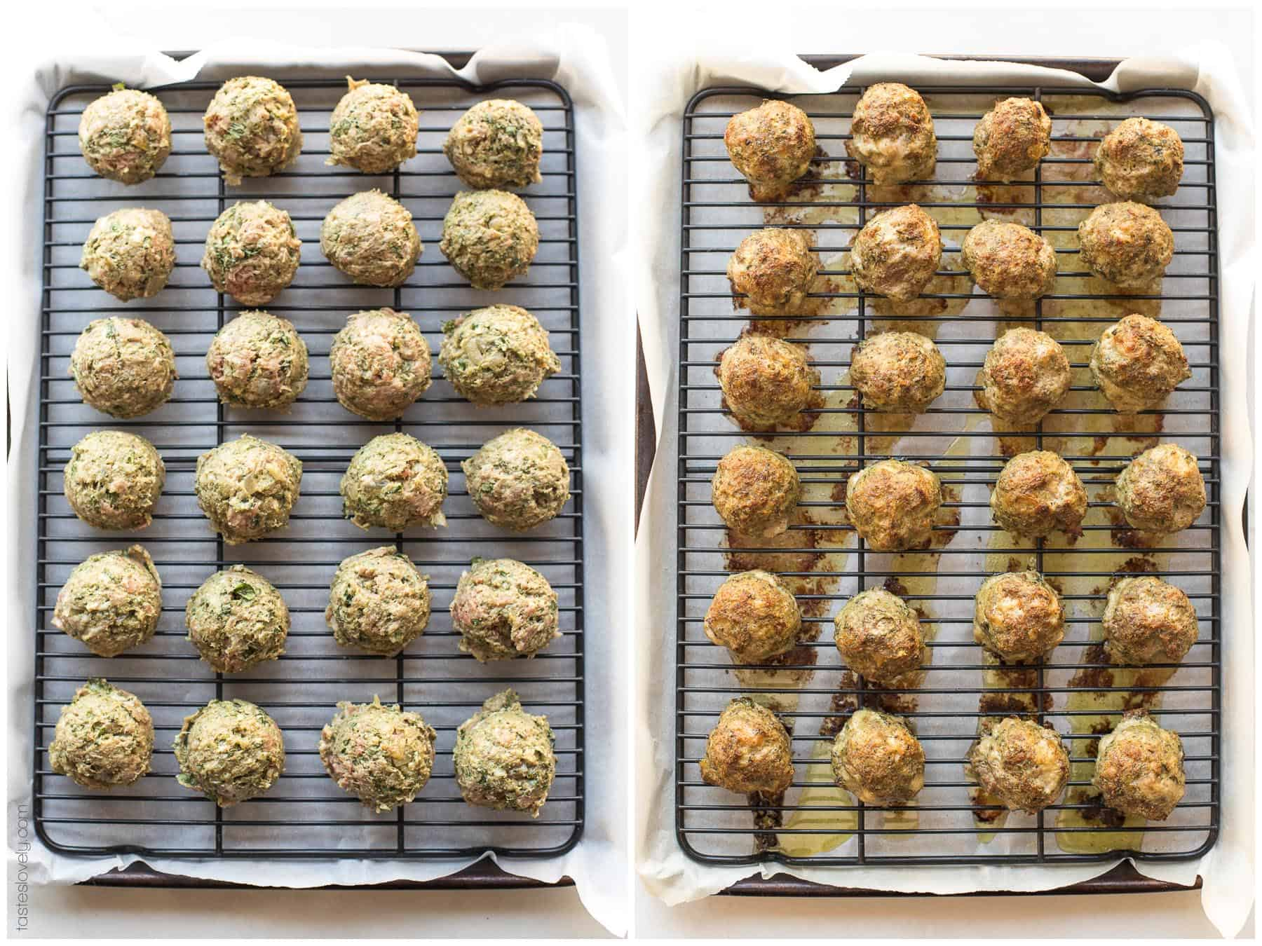 Before and after of baking pesto meatballs