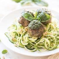 Paleo + Whole30 Pesto Meatballs