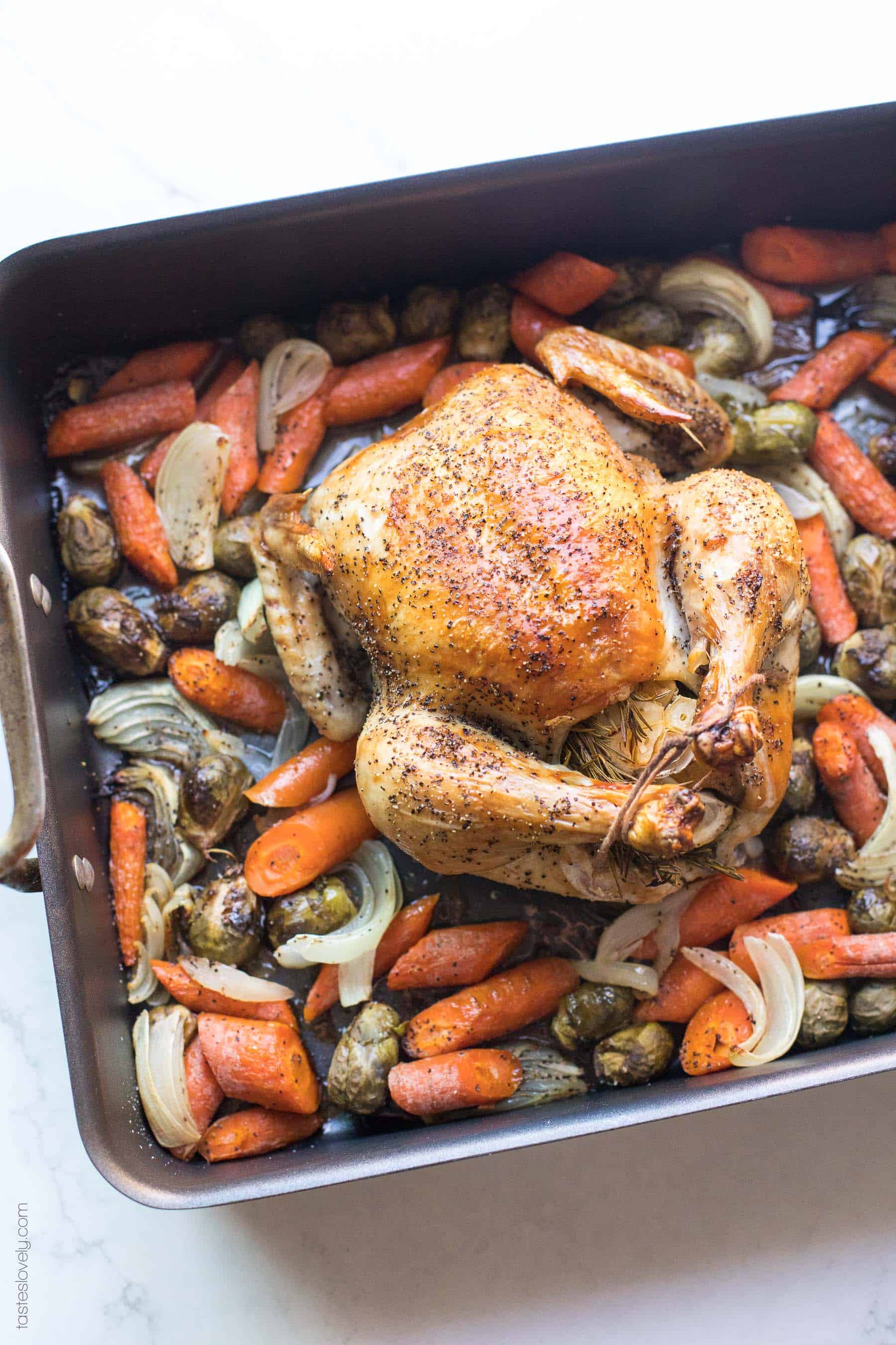 A roast chicken in a roasting pan over root vegetables