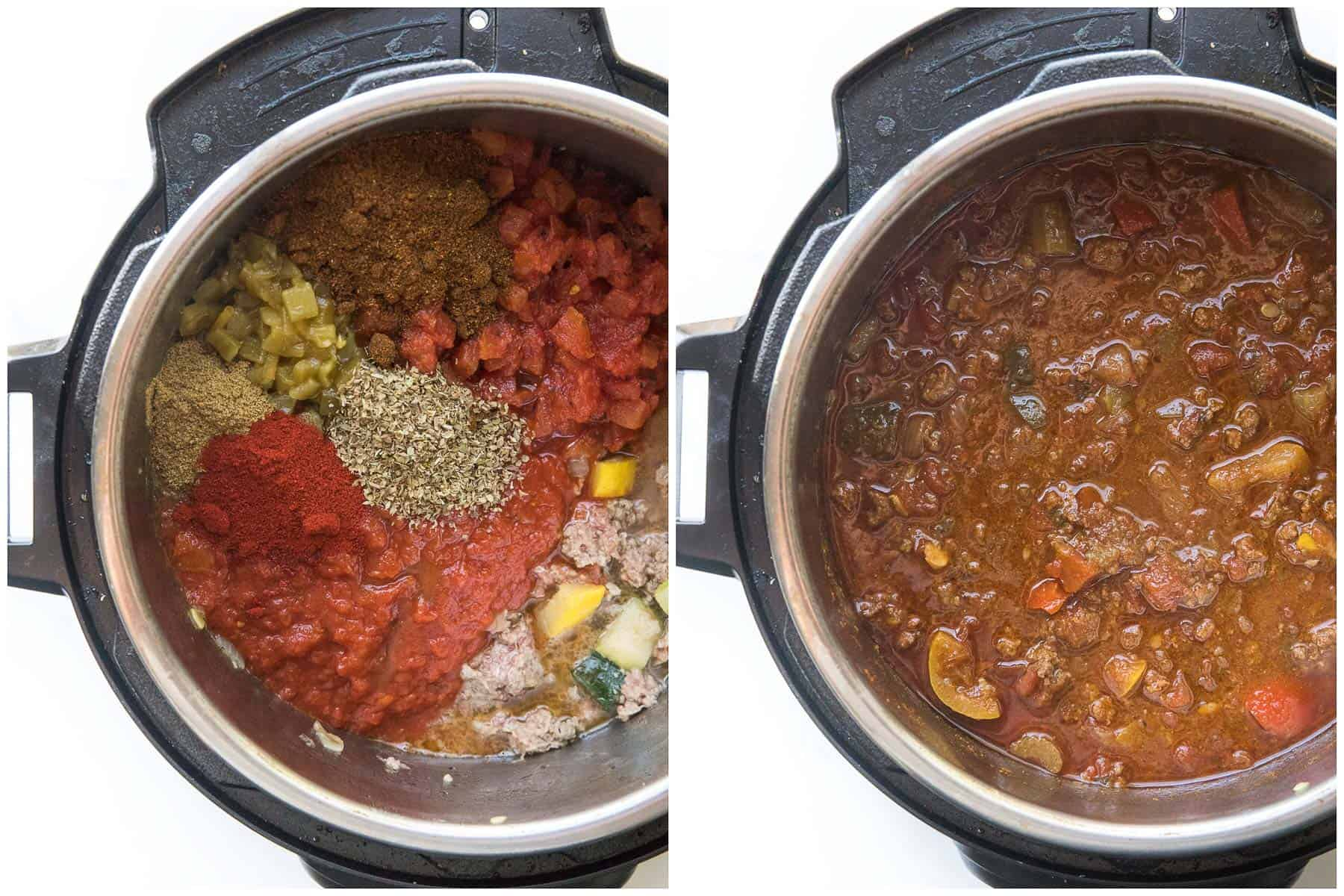 before and after cooking chili in an instant pot