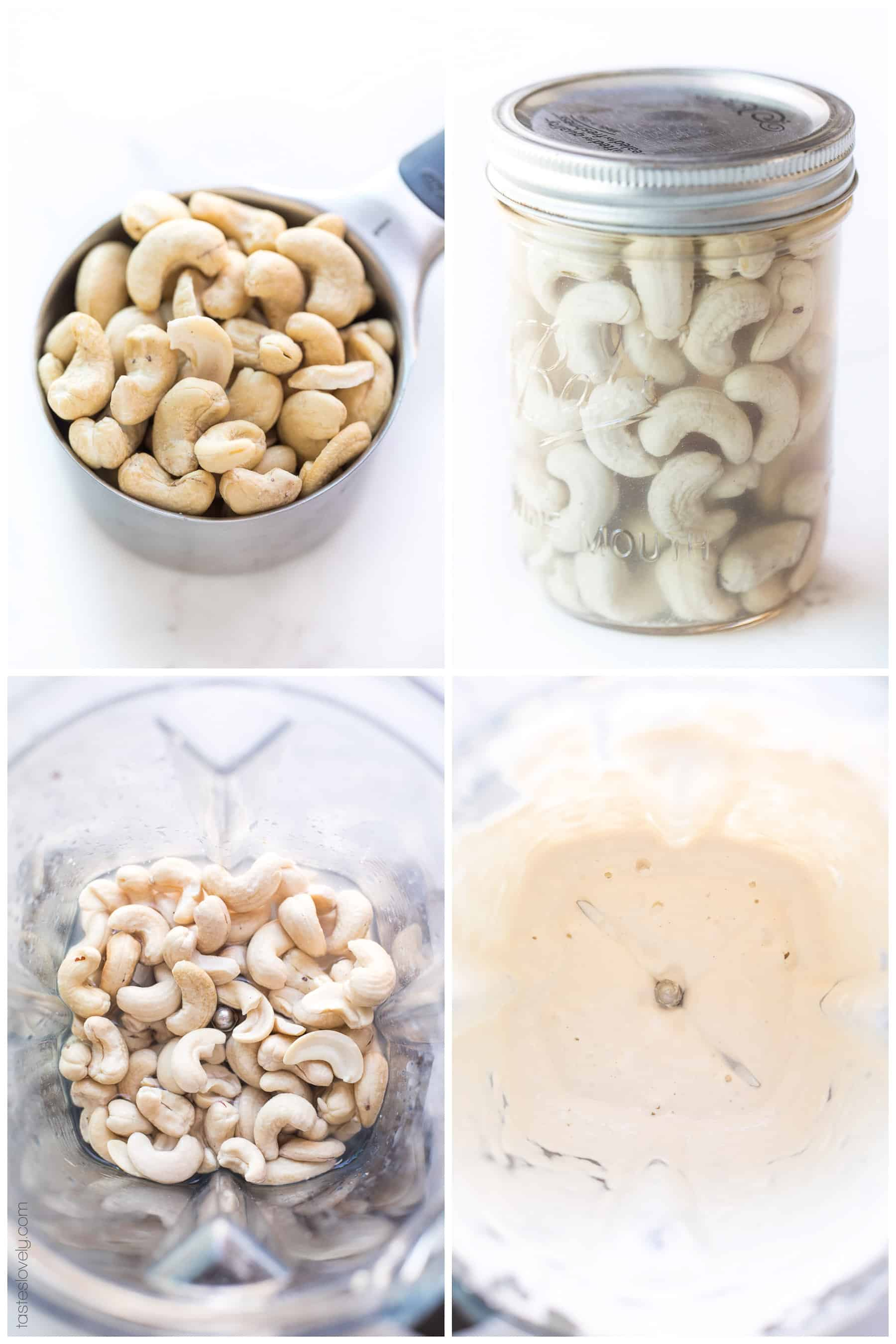 the steps of making cashew cream