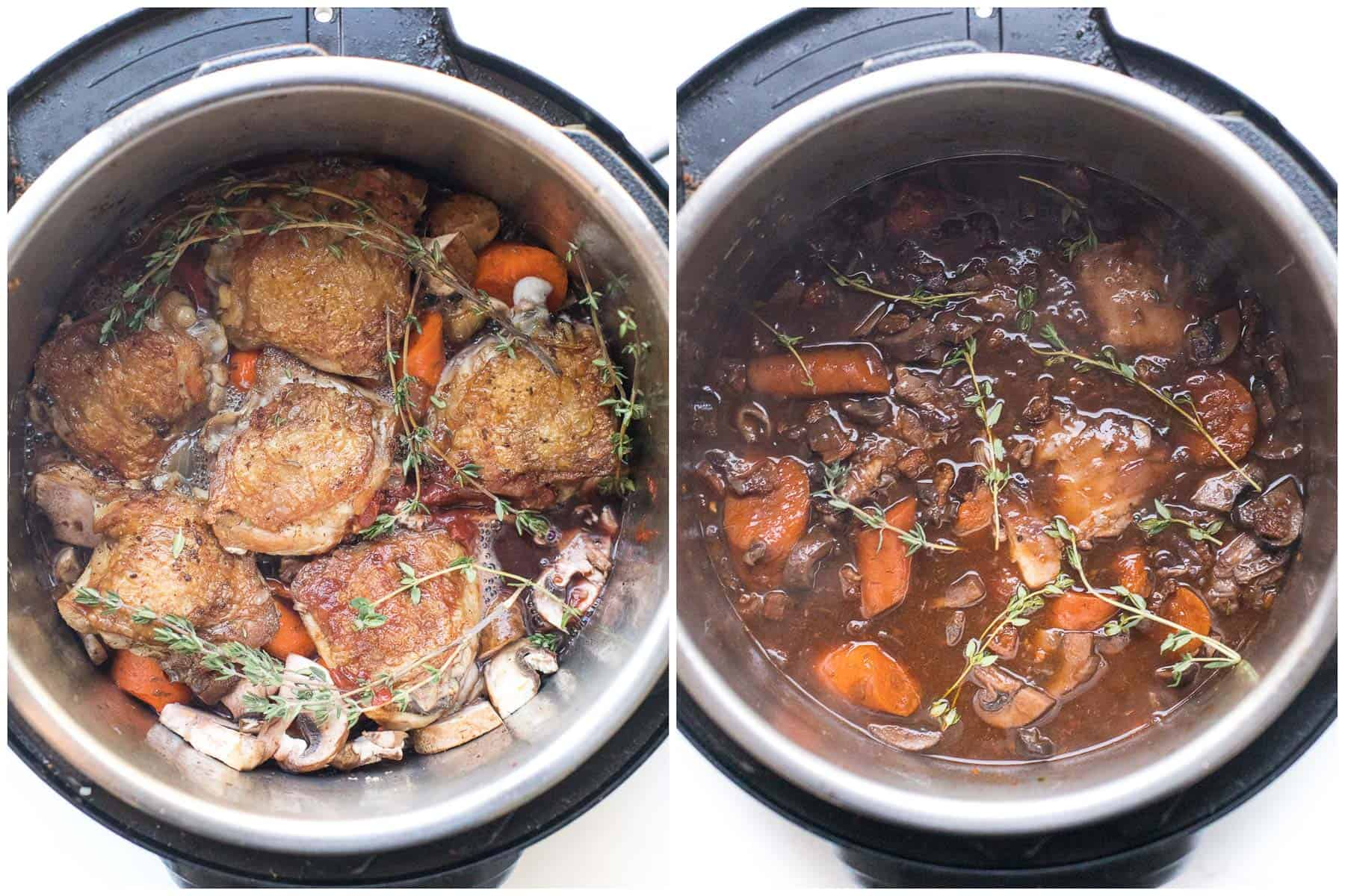 before and after of making keto coq au vin in an instant pot