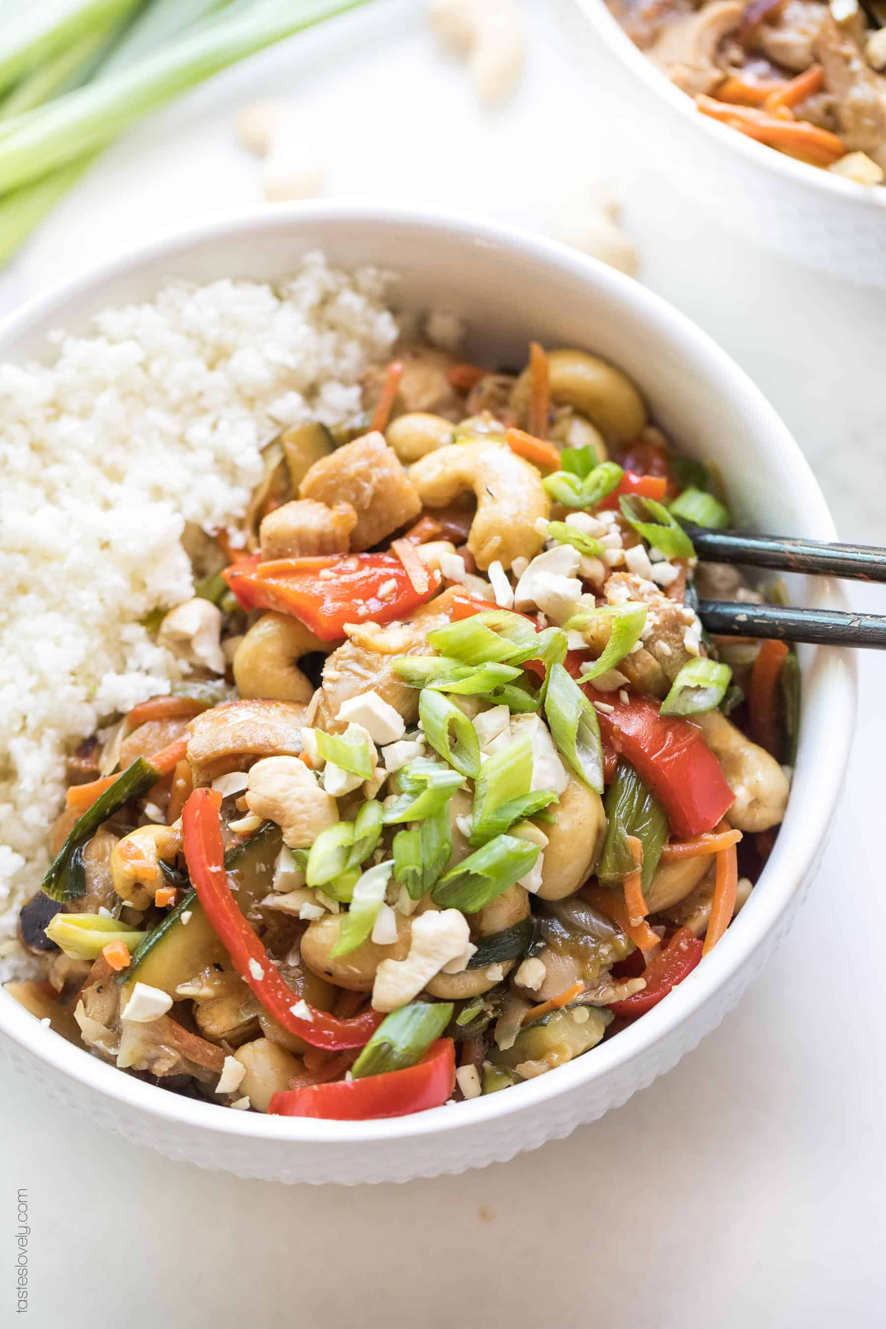 Chicken stir fry in a bowl with cauliflower rice