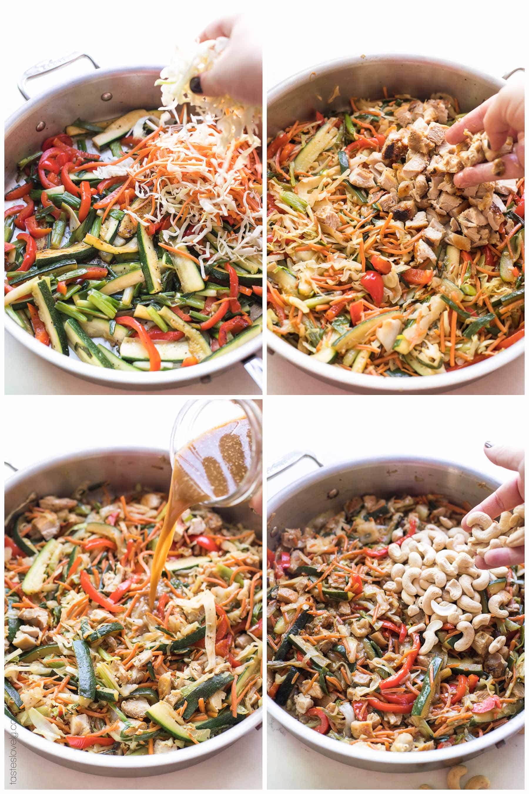 The steps of making chicken stir fry