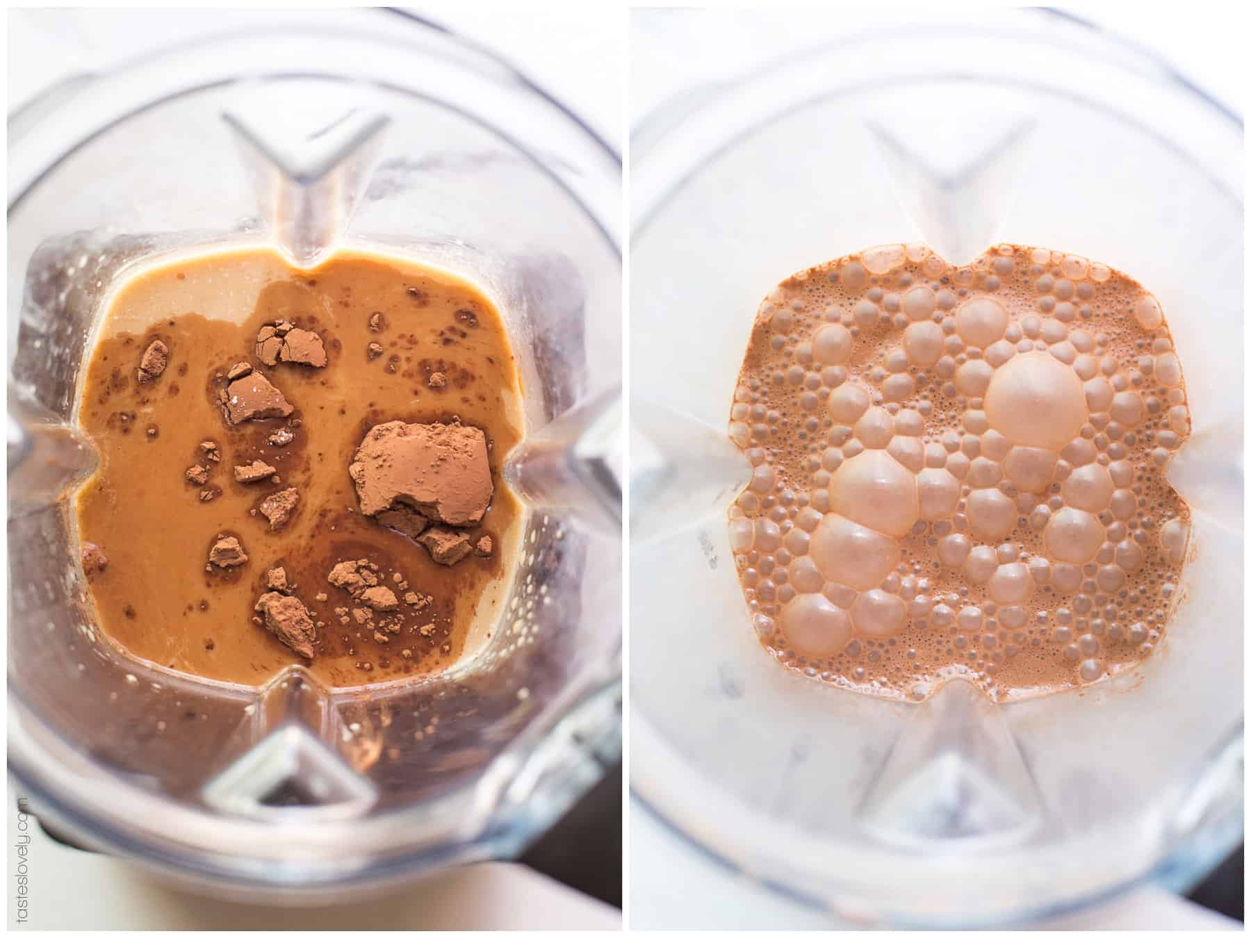 The ingredients of a mocha in a blender