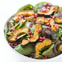 Paleo + Whole30 Roasted Acorn Squash Spinach Salad