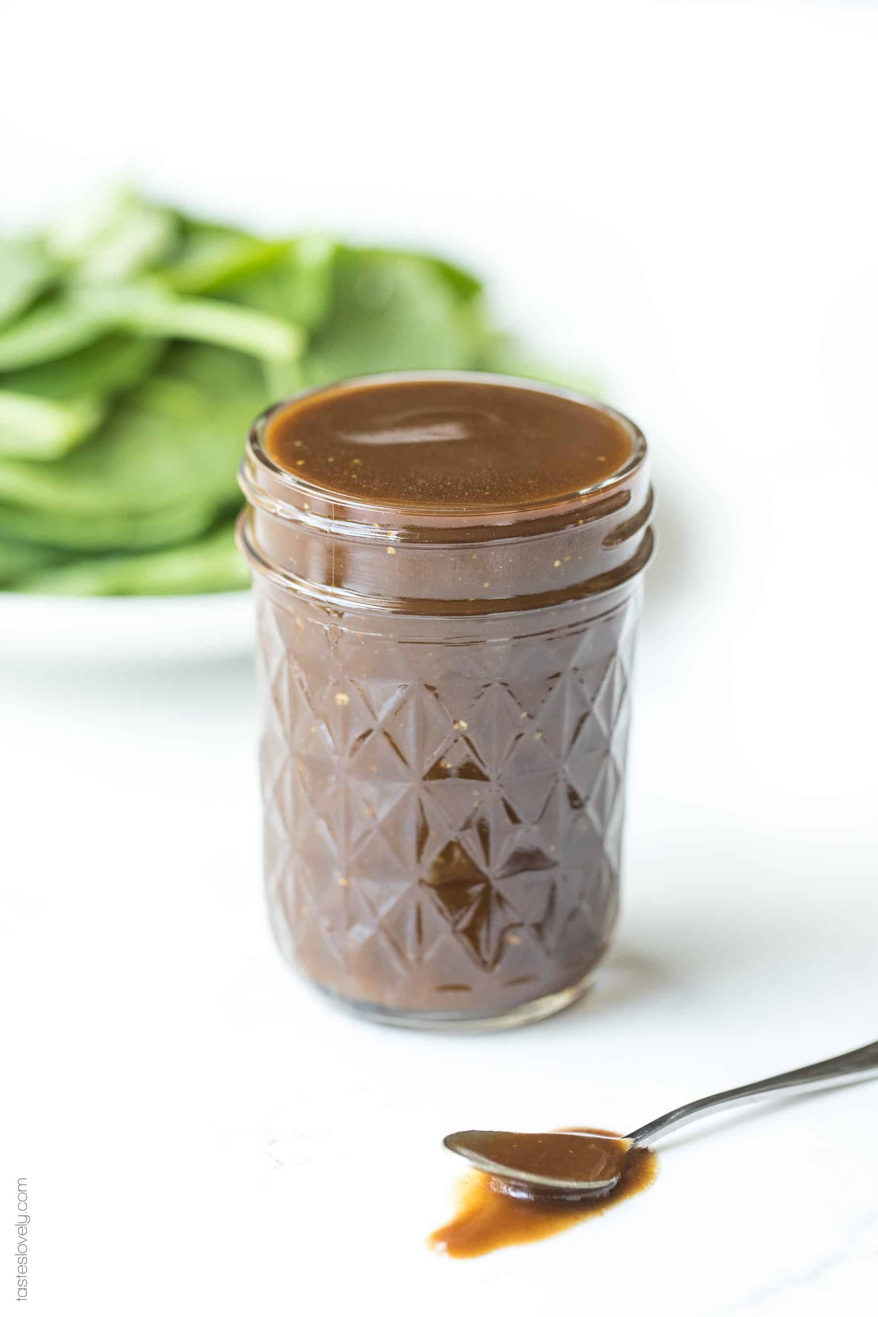 Balsamic vinaigrette salad dressing in a mason jar