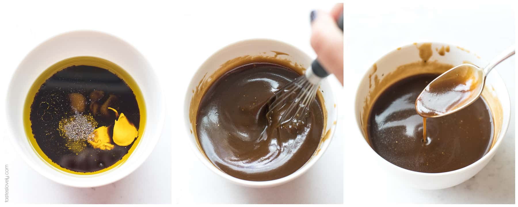steps of making a balsamic vinaigrette salad dressing in a bowl