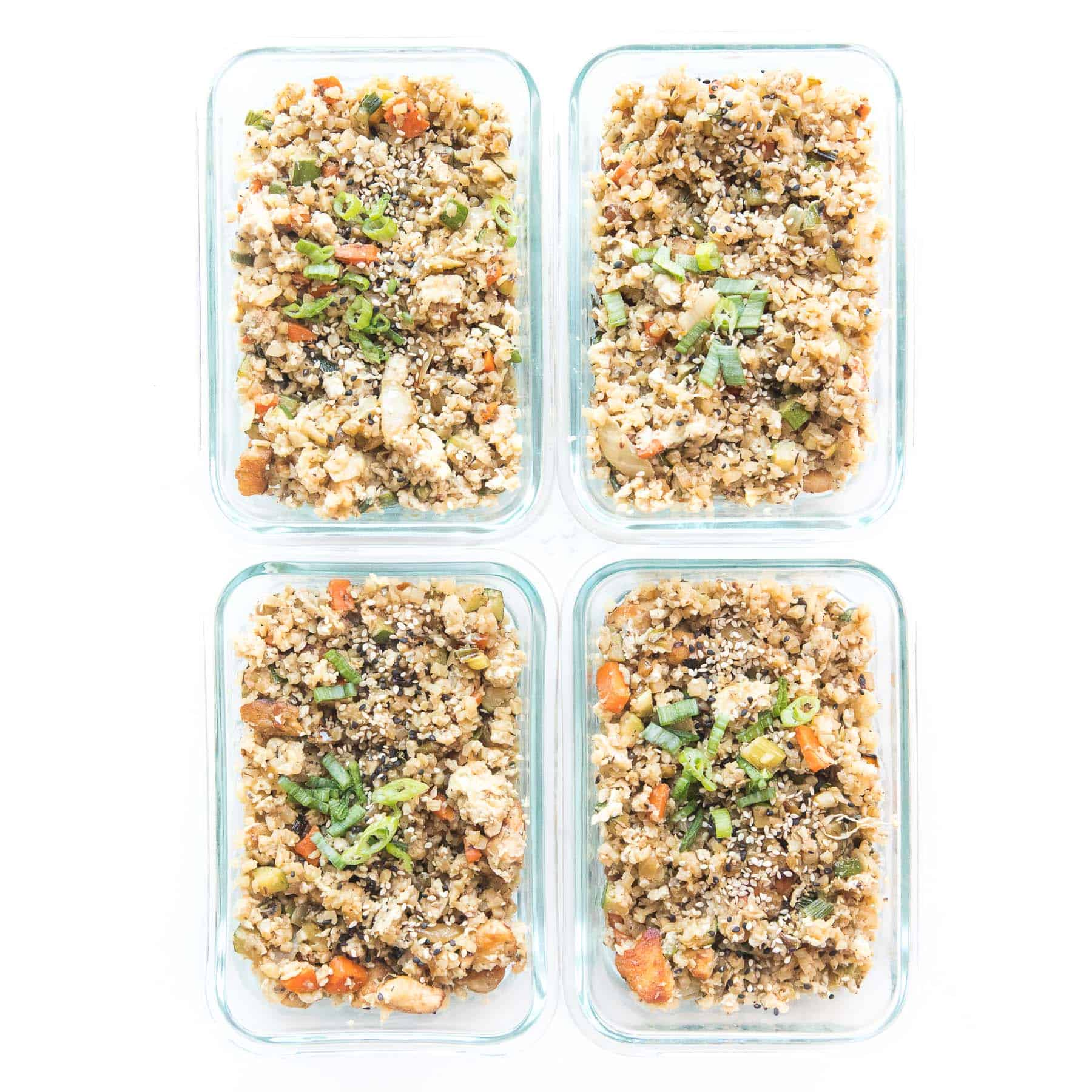 Whole30 + keto cauliflower fried rice in a meal prep containers