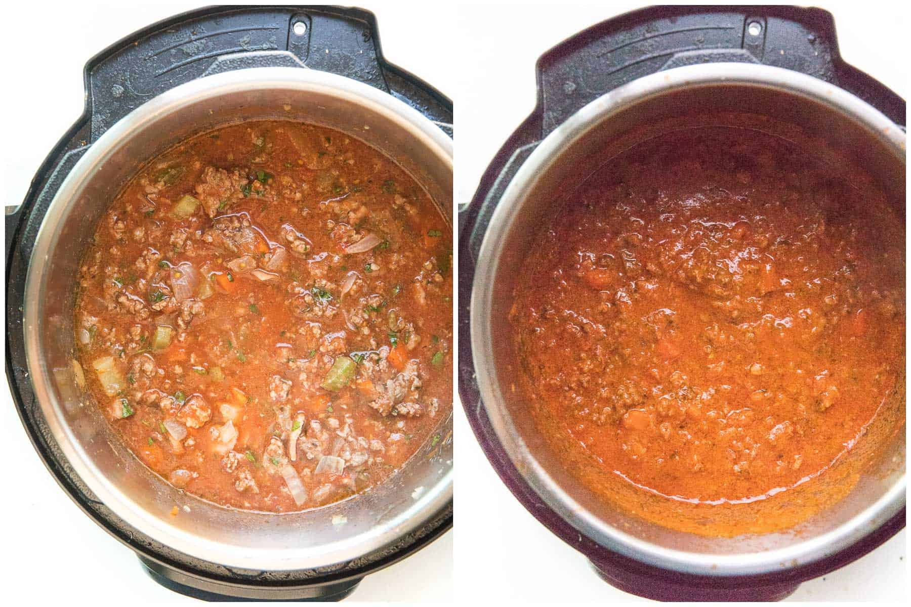 before and after cooking bolognese sauce in instant pot