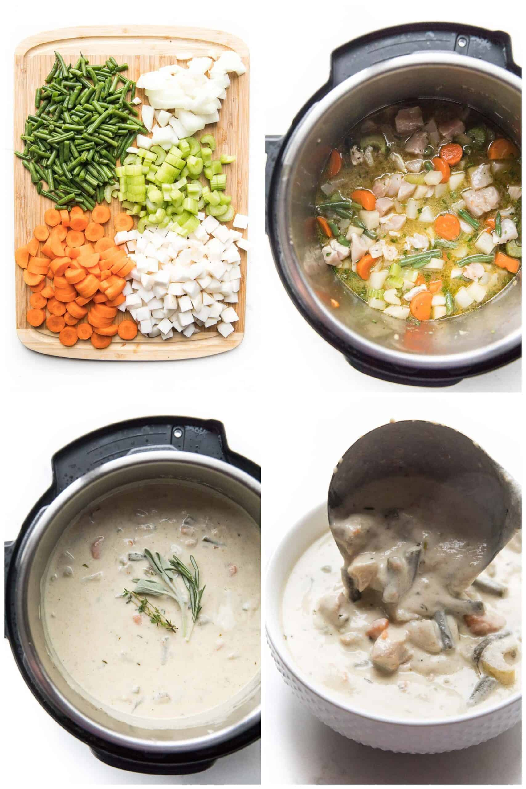 steps to make creamy chicken chowder in the instant pot