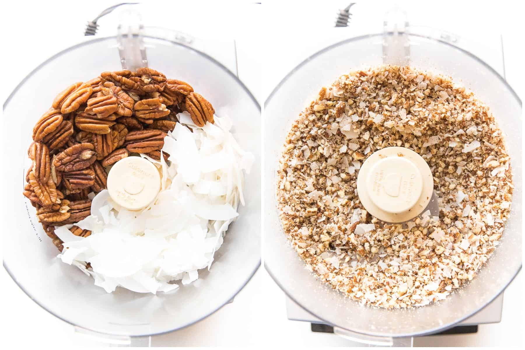 pecan + coconut chips in a food processor