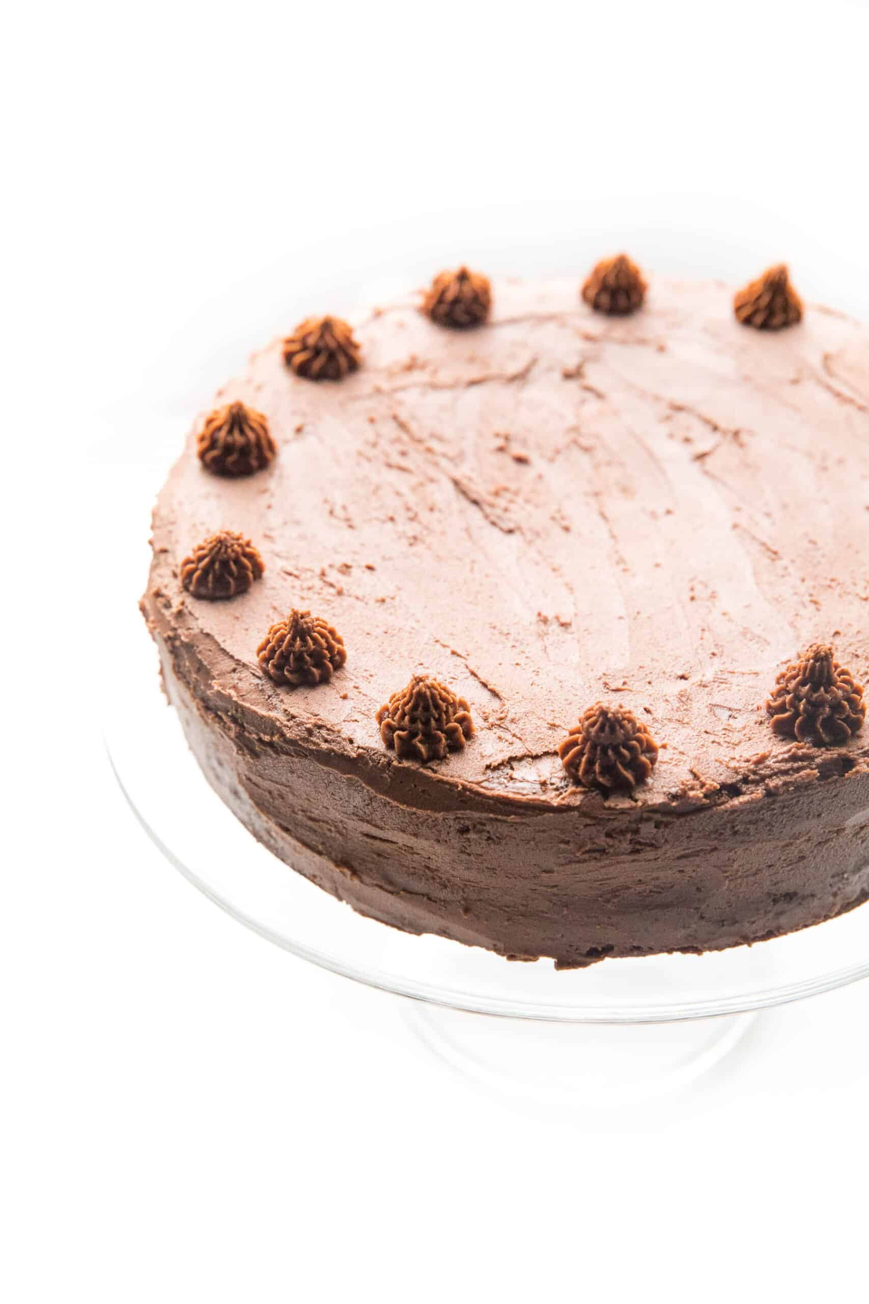 chocolate cake decorated on a white background