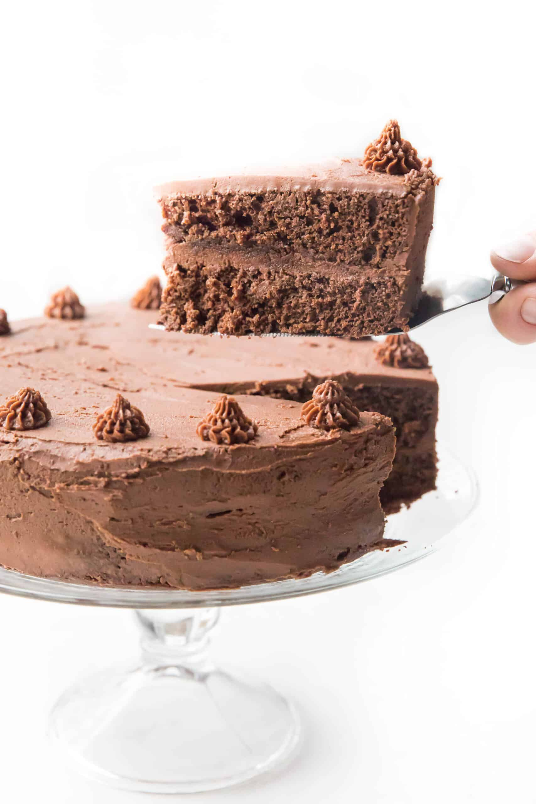 Lifting a slice of chocolate cake