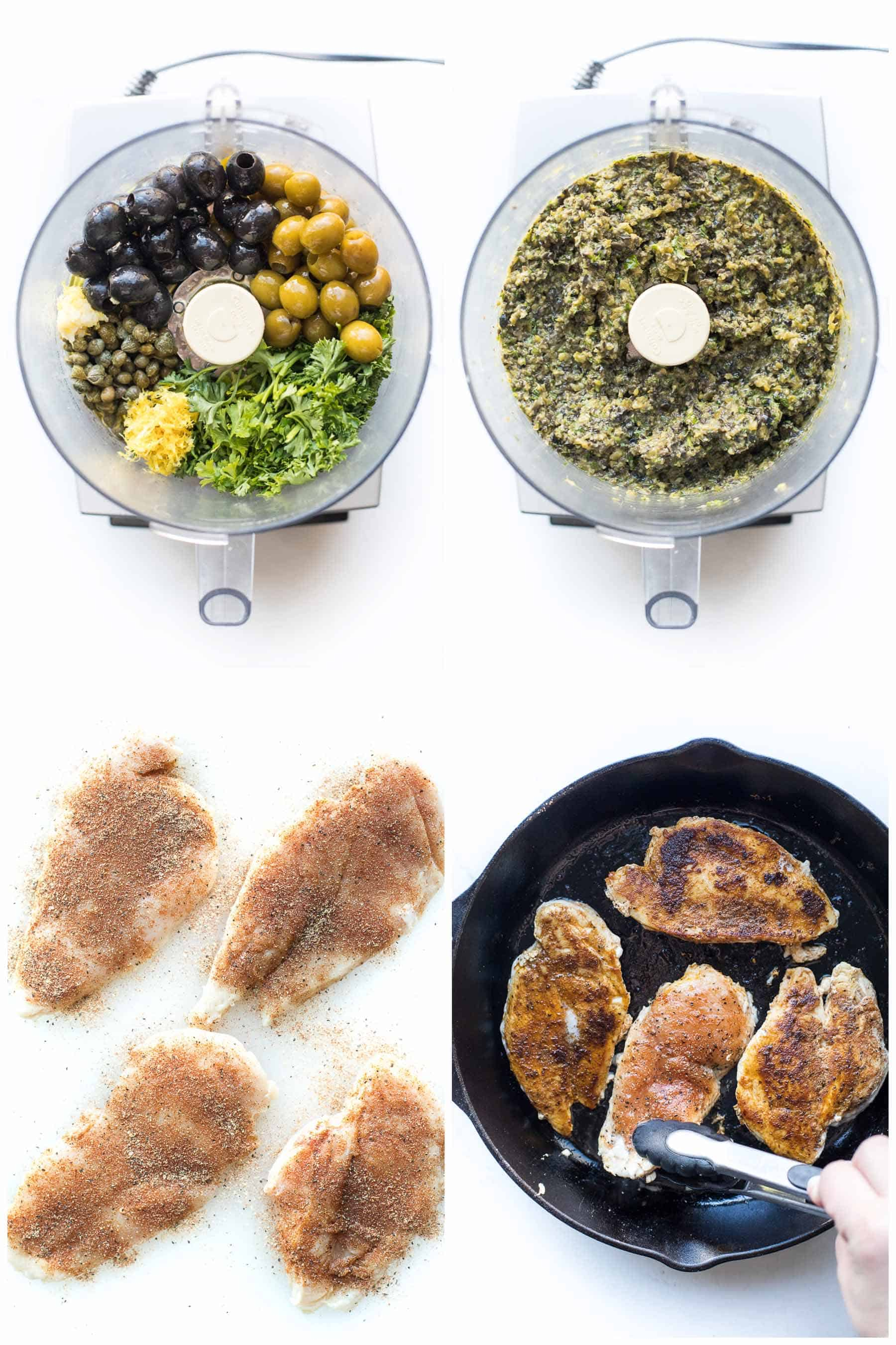 The steps of making chicken with olive tapenade