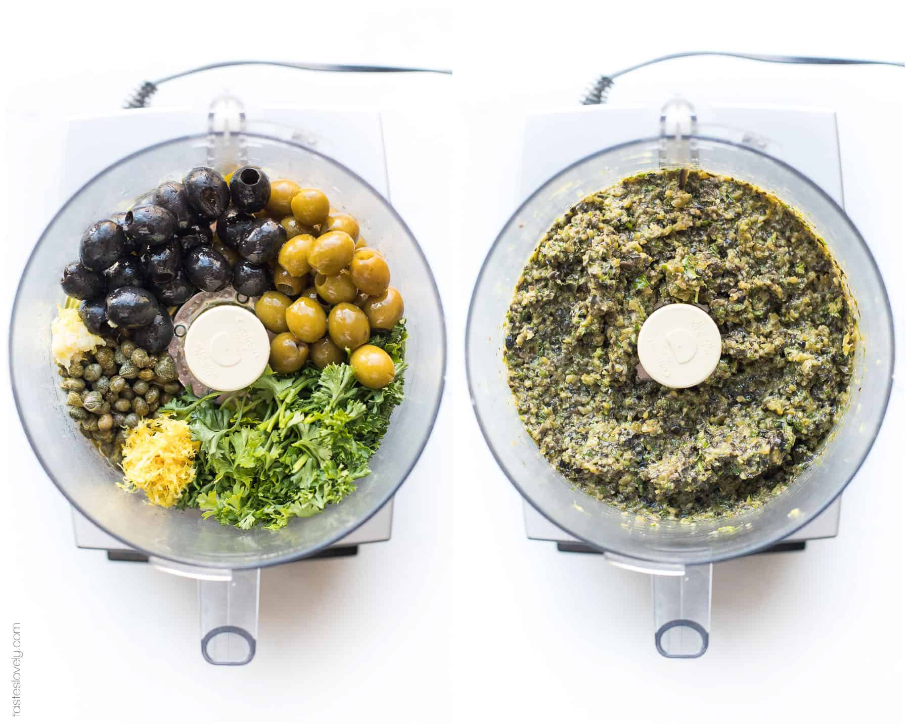 Steps of making olive tapenade in a food processor