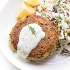 Paleo whole30 salmon cakes with lemon dill aioli tasteslovely.com  225x225