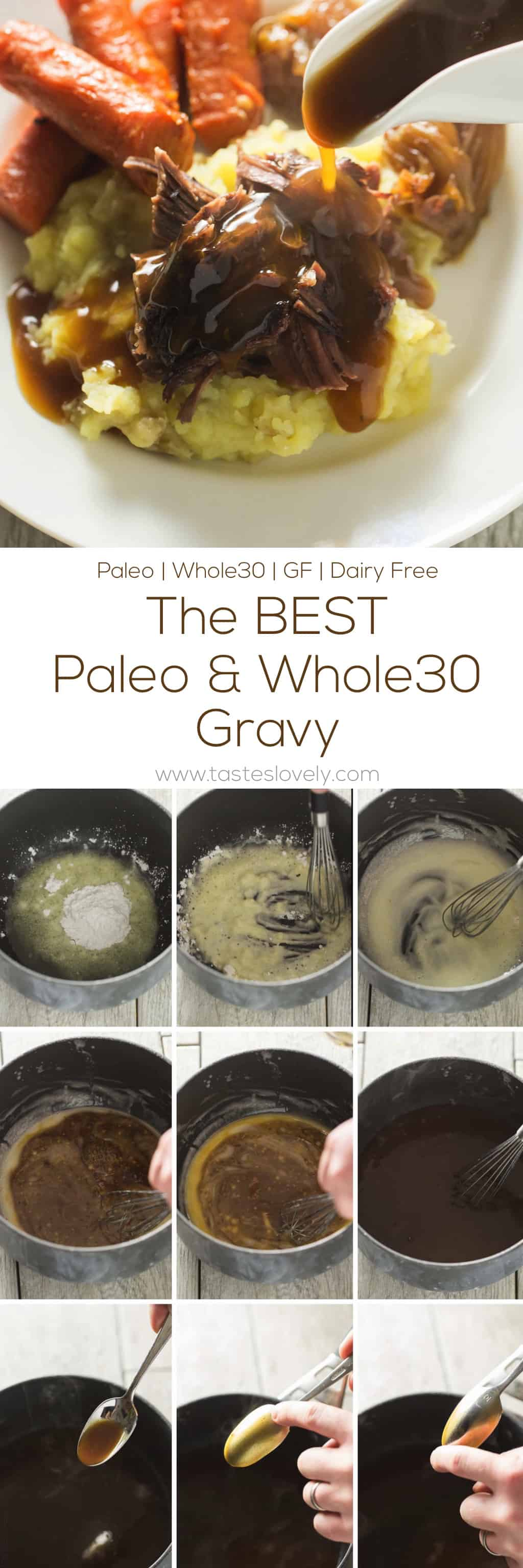 The BEST Paleo & Whole30 gravy - you would never guess this was flour free, butter free, gluten free! Just 3 ingredients and 5 minutes.