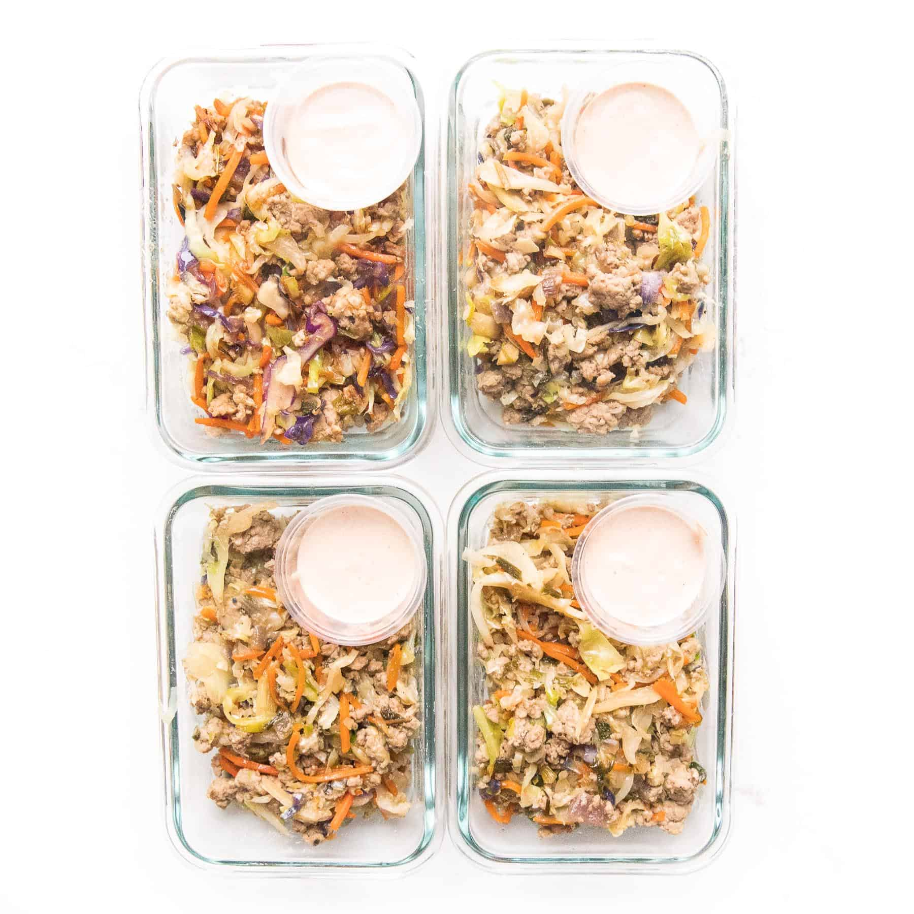 meal prep mu shu pork in glass containers